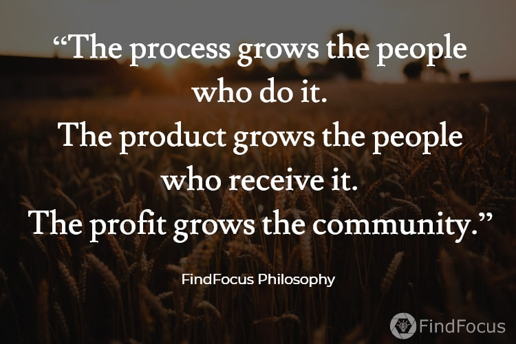 """The process grows the people who do it. The product grows the people who receive it. The profit grows the community."""