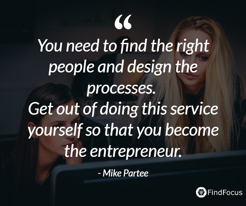 You need to find the right people and design the processes.  Get out of doing this service yourself so that you become the entrepreneur.