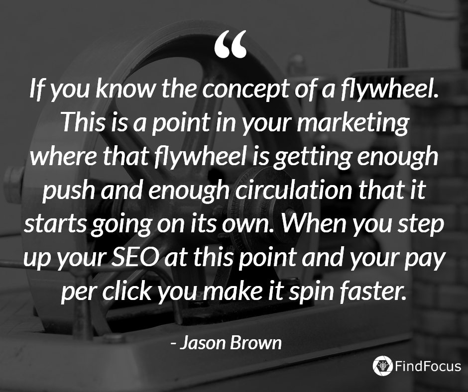 If you know the concept of a flywheel. This is a point in your marketing where that flywheel is getting enough push and enough circulation that it starts going on its own. When you step up your SEO at this point and your pay per click you make it spin faster.
