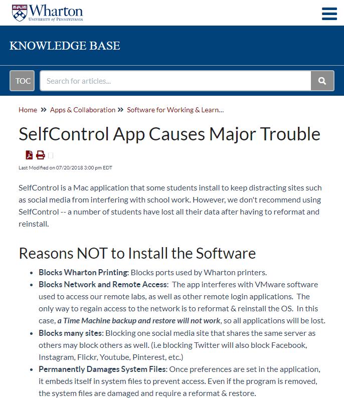SelfControl Damages Mac