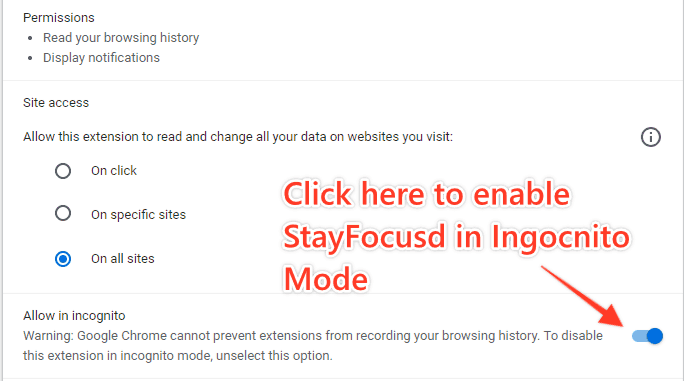 Enable StayFocusd In Incognito Mode Step 2