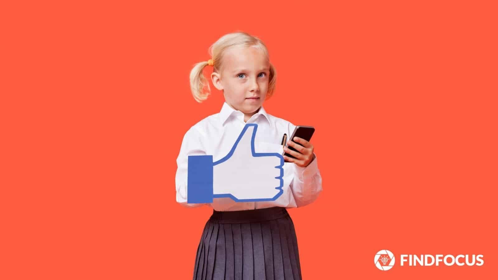 Schoolgirl liking her smartphone