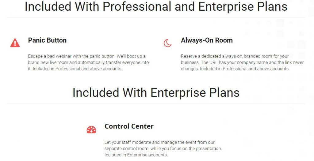 Professional and Enterprise Pricing Plans