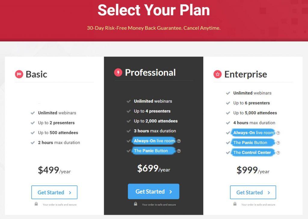 WebinarJam Pricings Plans