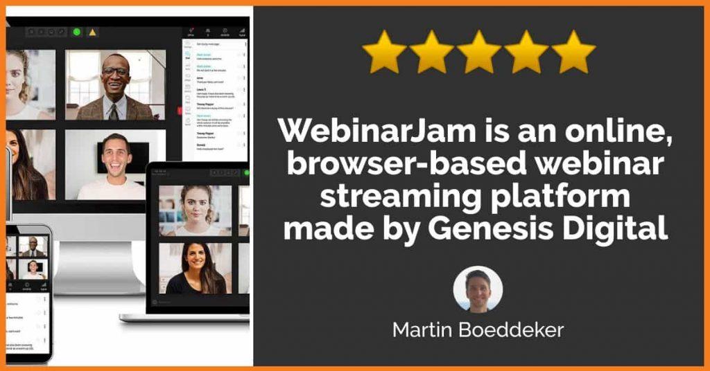 What is WebinarJam? It's is an online, browser-based webinar streaming platform made by Genesis Digital