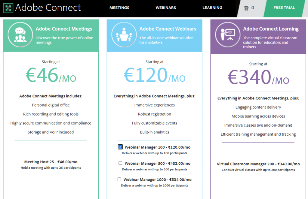 Adobe Connect Pricing Options