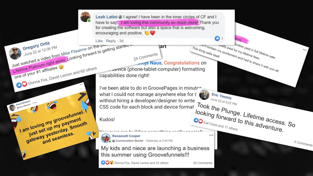Testimonials for the Groove Sales Funnel Builder