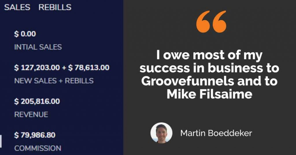 Quote from GrooveFunnels Top Affiliate Martin Boeddeker