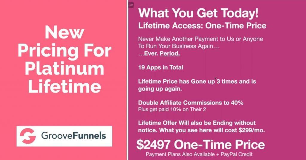 New Pricing For Platinum Lifetime